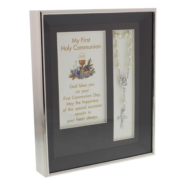 My First Holy Communion Plaque and Verse With Rosary Bead Bracelet