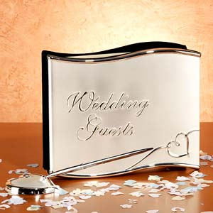 silver wedding guest book