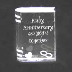 Wedding Anniversary This 6.5cm high glass book with Ruby Anniversary ...
