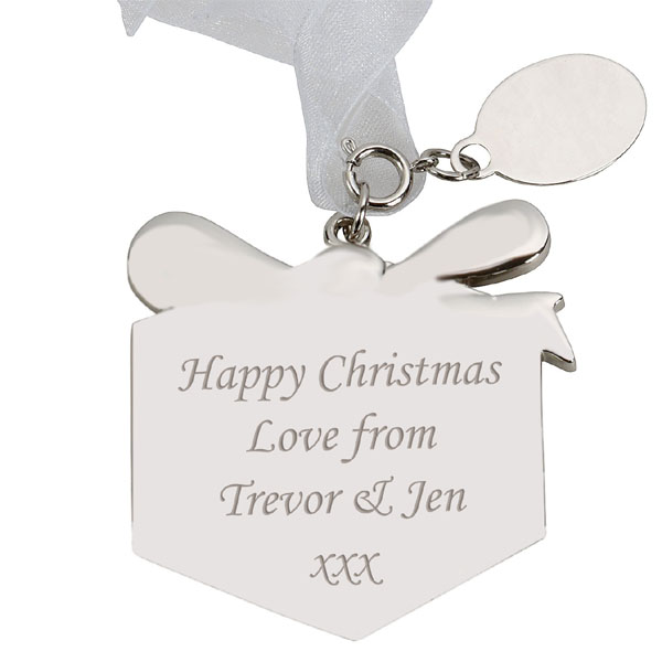 Engraved Glitter Present Tree Decoration - Present Gifts