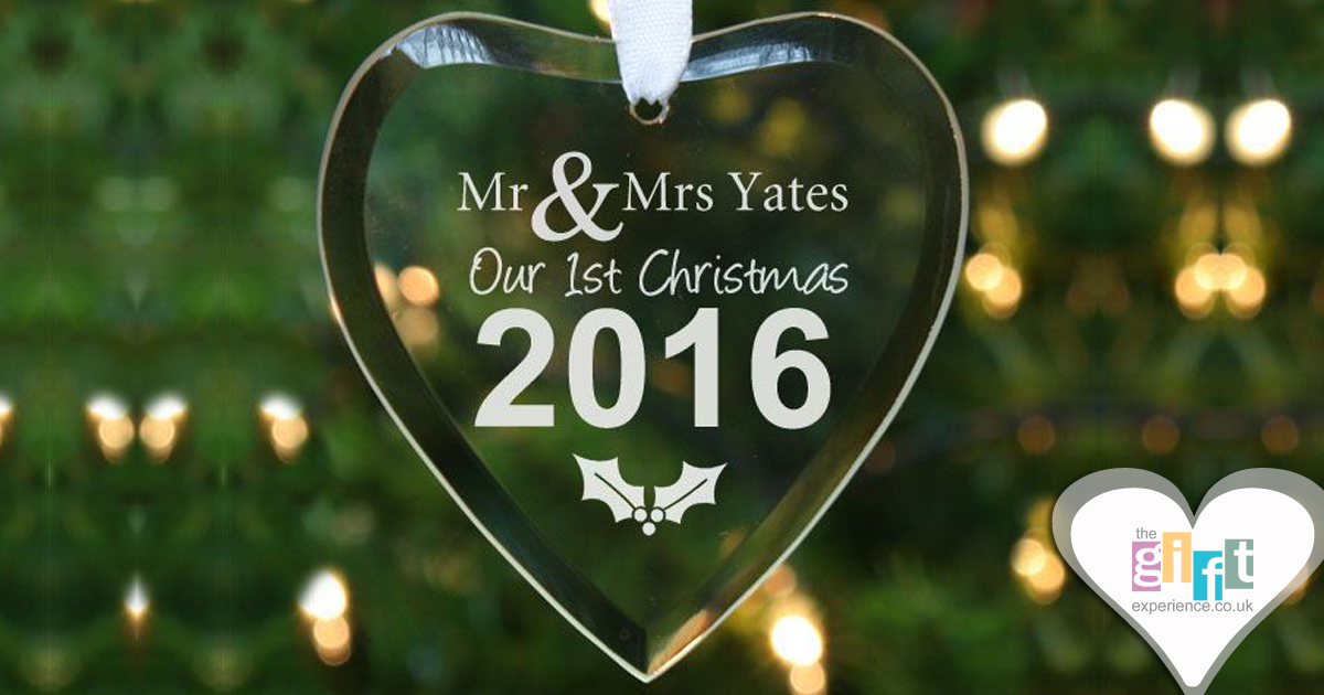 Personalised Our First Christmas Glass Heart tree decoration
