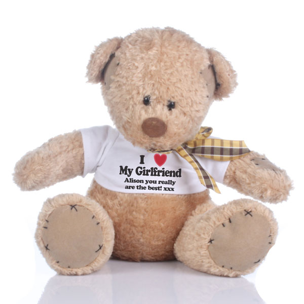 I Love My Girlfriend Personalised Valentines Day Patch Bear - Valentines Day Gifts