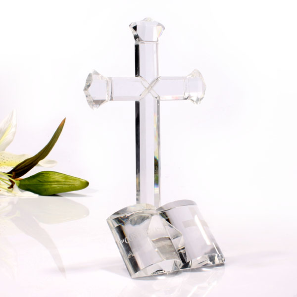 Confirmation Glass Cross and Bible - Bible Gifts