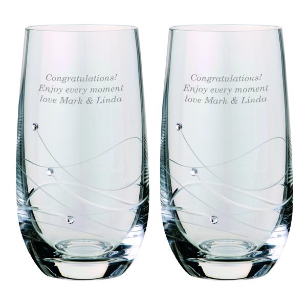 Dartington Crystal Personalised Pair Of Glitz Highball Glasses