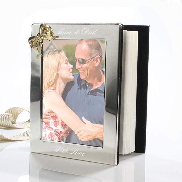 Engraved Photo Album With Gold Coloured Bow - Photo Album Gifts