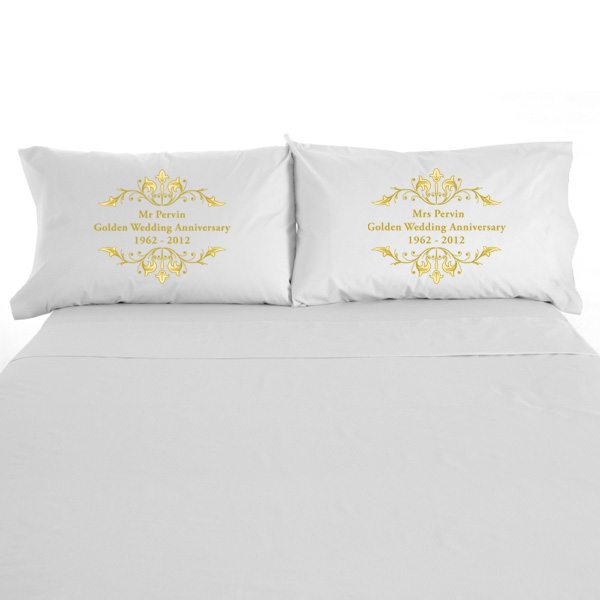 Personalised Golden Anniversary Pillowcases