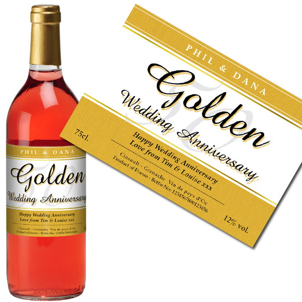 Personalised Golden Wedding Anniversary Rose Wine Bottle in Gift Box - Wedding Anniversary Gifts