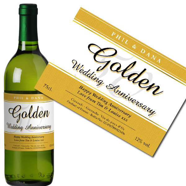 Personalised Golden Wedding Anniversary White Wine Case of 12 - Wedding Anniversary Gifts