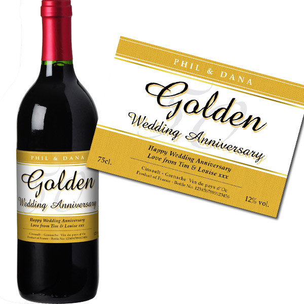 Personalised Golden Wedding Anniversary Red Wine Bottle in Gift Box - Wedding Anniversary Gifts