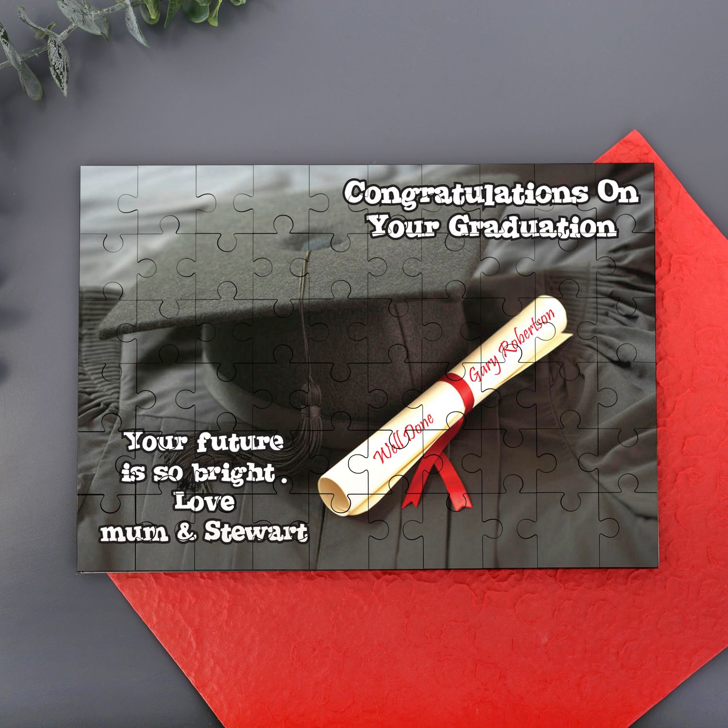 Graduation Message On a Jigsaw - Jigsaw Gifts