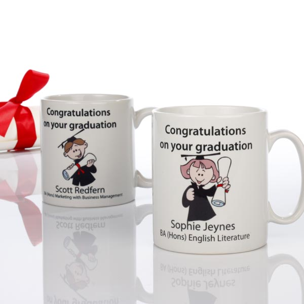 Personalised Graduation Mug (Male Character) - Graduation Gifts