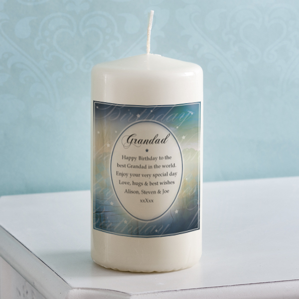 Personalised Birthday Wishes Grandad Candle - Grandad Gifts