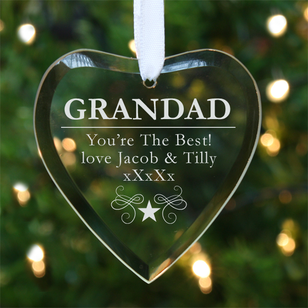 Grandad Personalised Hanging Glass Heart - Grandad Gifts