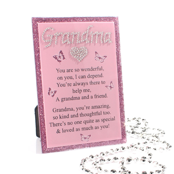 Glitter Glass Plaque With Verse - Grandma - Grandma Gifts