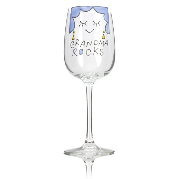 Grandma Rocks Wine Glass - Grandma Gifts