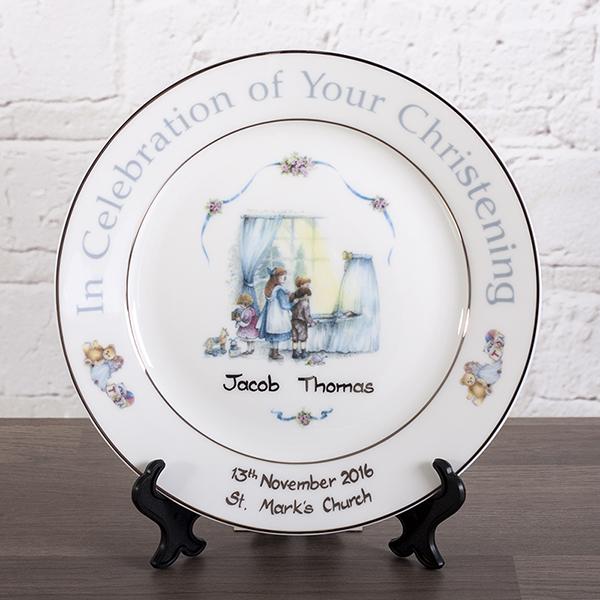 Personalised Heron China Christening Plate