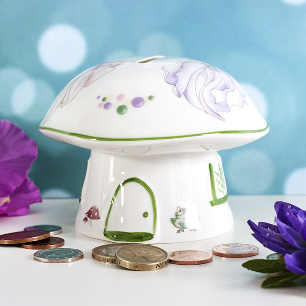 Personalised Heron China Faery Mushroom Money Box - Mushroom Gifts