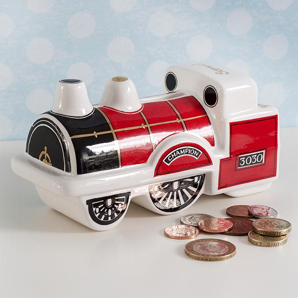 Personalised Heron China Steam Train Money Box