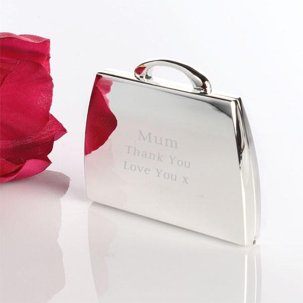 Engraved Handbag Shaped Compact Mirror Standard - Engraved Gifts
