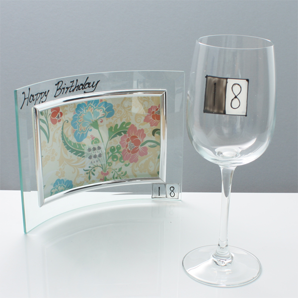 18th Birthday Photo Frame and Glass Gift Set - 18th gift