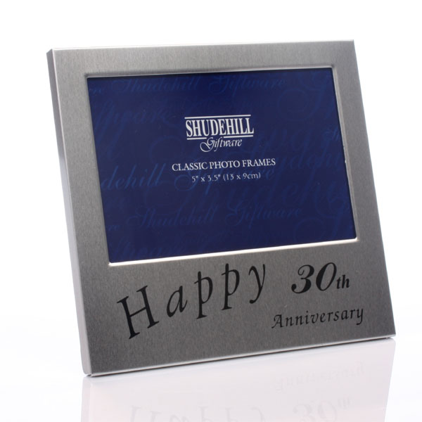 30th Anniversary Satin Silver Photo Frame - 30th Gifts