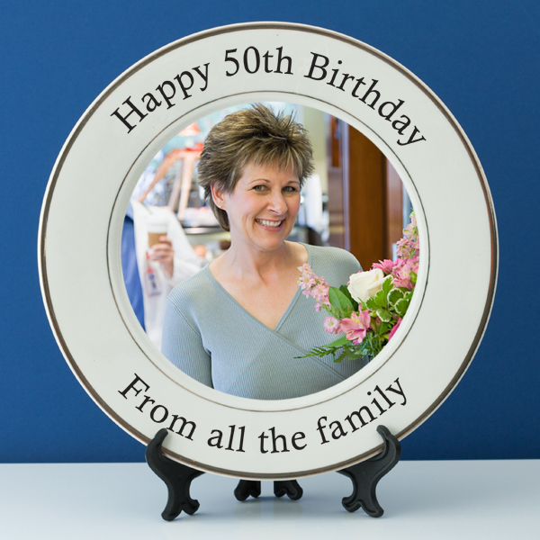 Personalised 50th Birthday Photo Plate - 50th gift