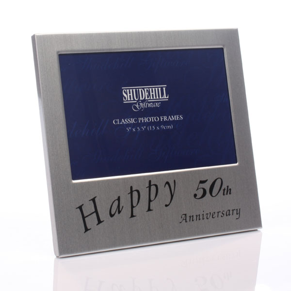 50th Anniversary Satin Silver Photo Frame - 50th Gifts