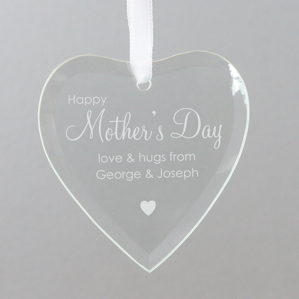 Mother's Day Personalised Glass Heart