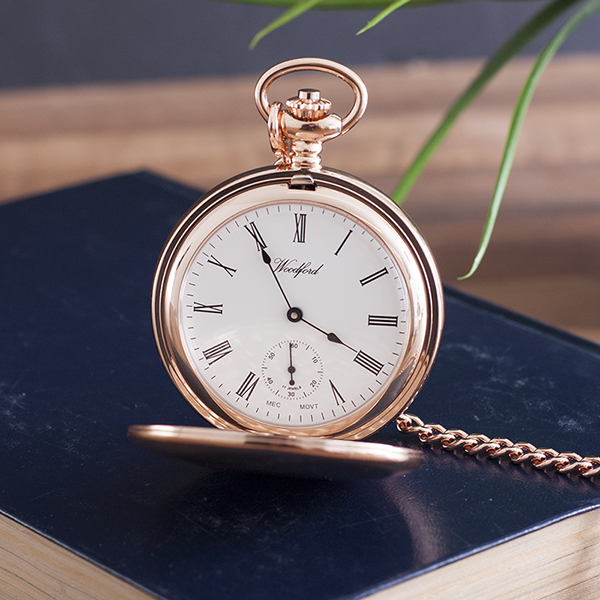 Personalised Woodford Rose Gold Twin Lidded Hunter Pocket Watch