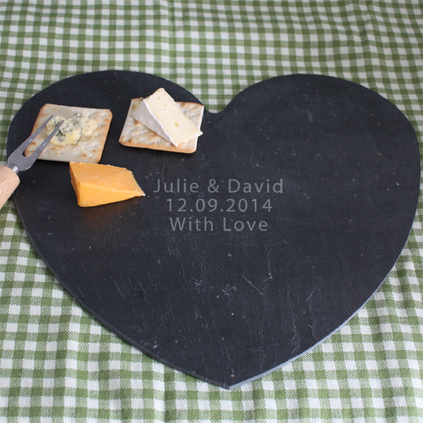 Personalised Large Heart Shaped Slate Cheese Board - Cheese Board Gifts