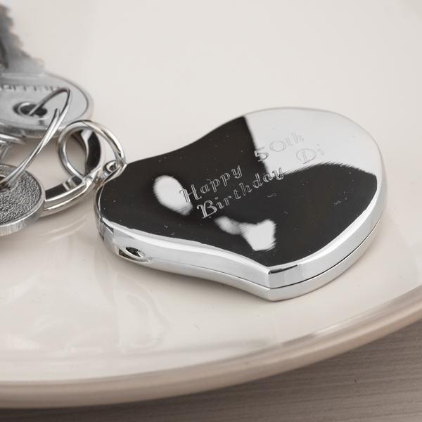 Engraved Heart Locket Keyring - Keyring Gifts