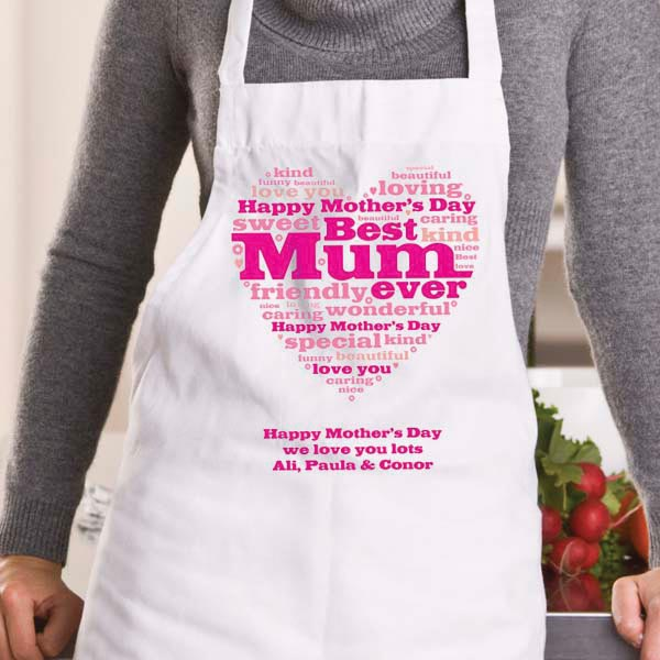Mother's Day Heart of Words Personalised Apron