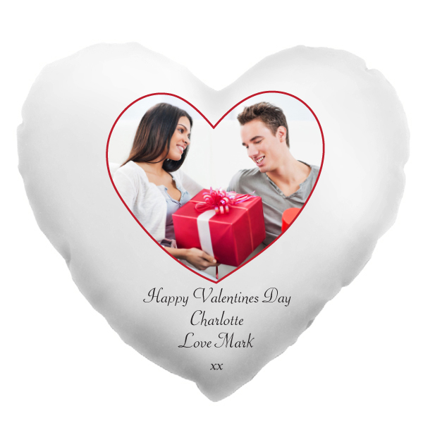 Valentines Day Heart Shaped Personalised Photo Cushion