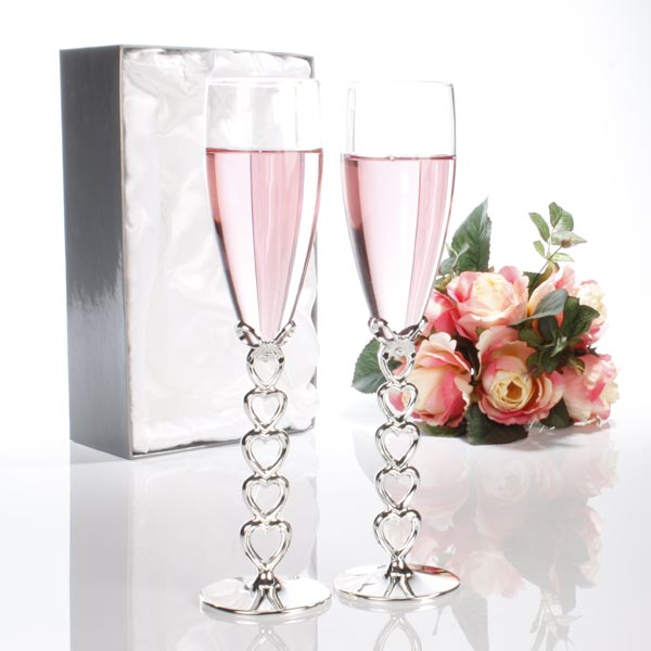 Pair of Engraved Silver Heart Stem Champagne Glasses - Wedding Gifts