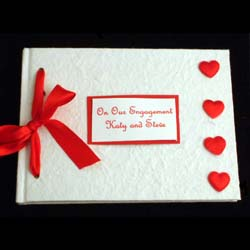 Personalised Engagement Album Hearts Design