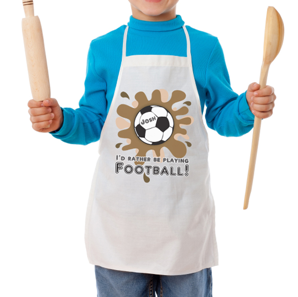 Personalised I'd Rather Be Playing Football Children's Apron - Football Gifts