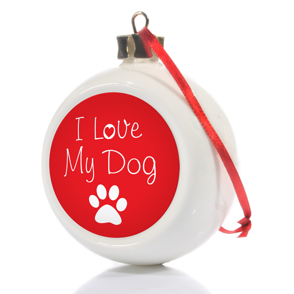 I Love My Dog Personalised Christmas Bauble - Christmas  gift