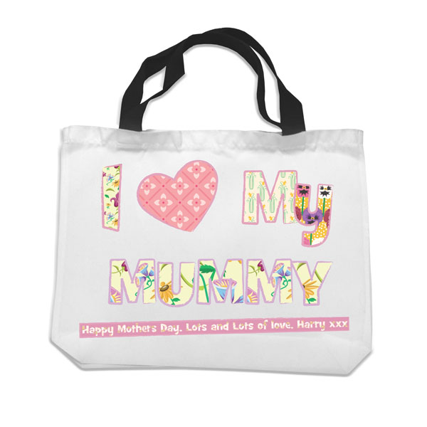 I Heart My Mummy Black Handled Shopping Bag - Bag Gifts