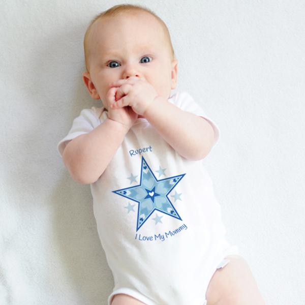 Personalised I Love My Mummy Star Design Baby Grow - Babygrow Gifts
