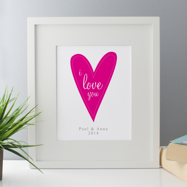 I Love You Personalised Framed Print - Pink - Pink Gifts