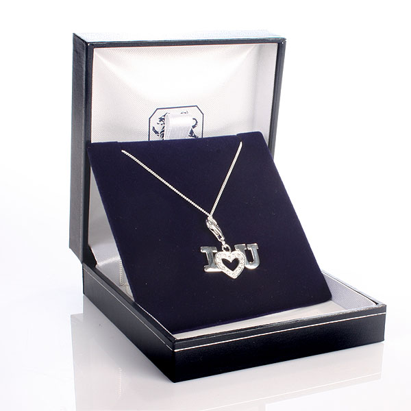 i love you necklace with personalised gift box