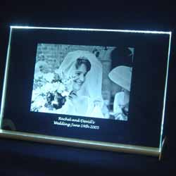 Etched Glass Frame with Light Stand