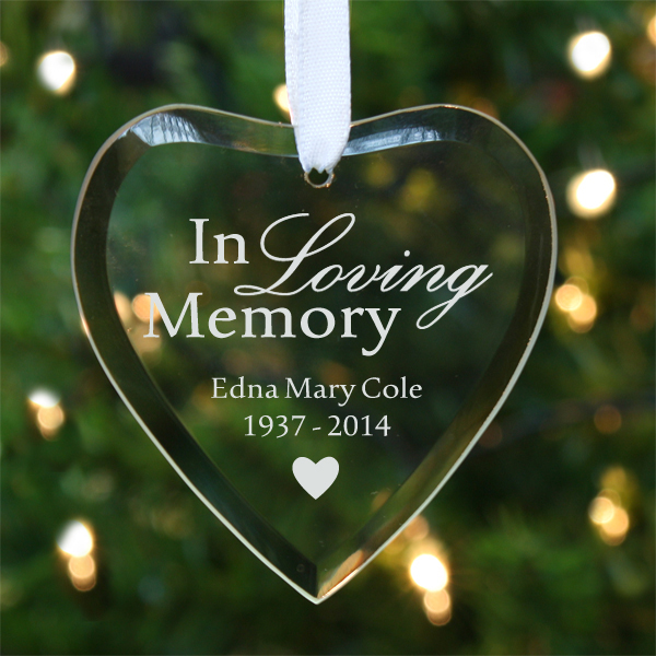 In Loving Memory Personalised Hanging Glass Heart