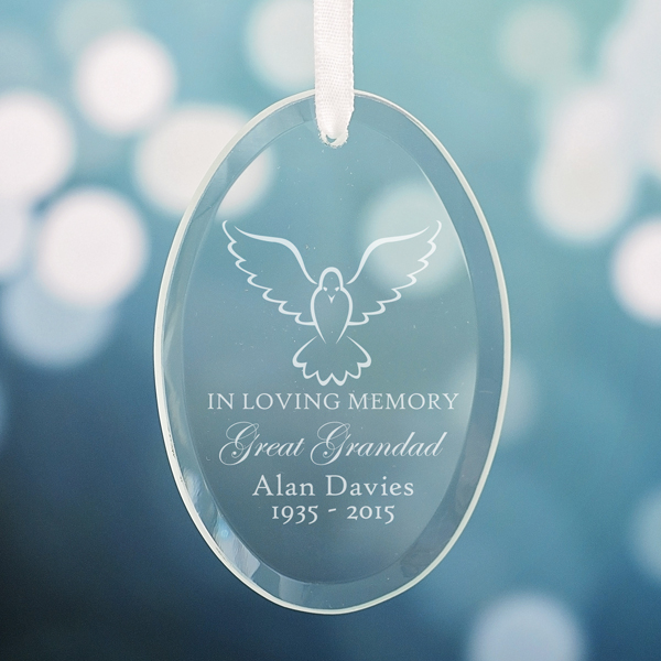 Personalised In Loving Memory Oval Hanging Glass Ornament