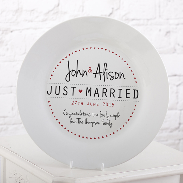 Personalised Just Married Wedding Plate - Wedding Gifts