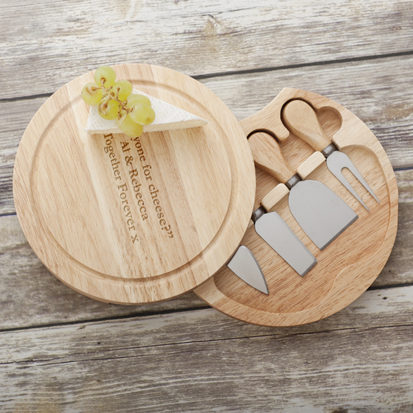Personalised Wooden Cheese Knife Set with Cheeseboard - Cheese Gifts
