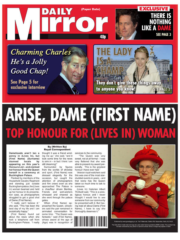 Themed Female Spoof Newspapers Knighted Becomes Lady