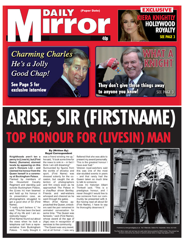 Themed Male Spoof Newspapers Knighted Lord