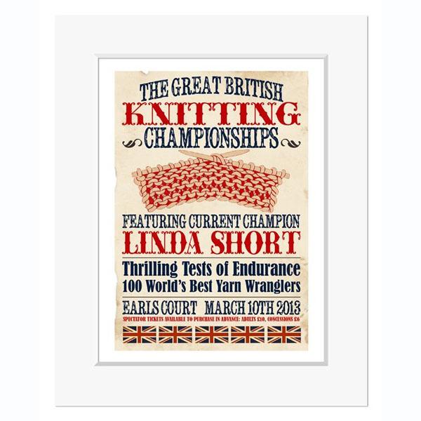 Great British Knitting Champion - Personalised Vintage Print - Knitting Gifts