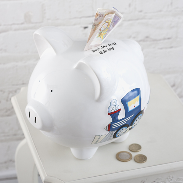 Personalised Large Piggy Bank Train Design - Piggy Bank Gifts